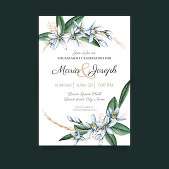 Floral engagement card template