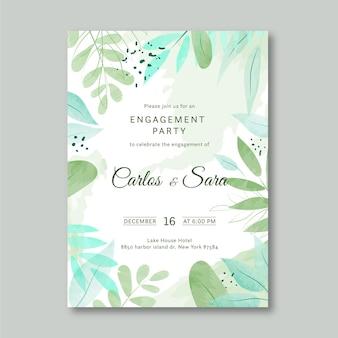 Цветочный шаблон приглашения на помолвку
