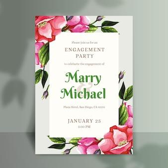 Modello di invito di fidanzamento floreale Vettore gratuito