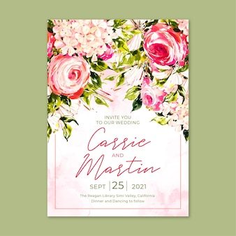 Floral engagement invitation template