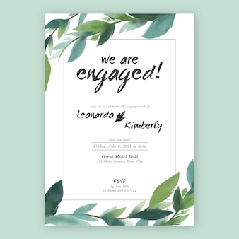 Floral engagement invitation with leaves