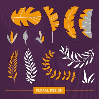 Floral exotic elements in modern style.