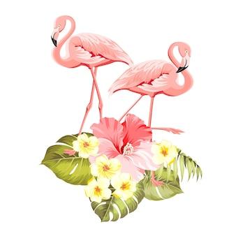 Цветочные экзотические природные украшения. сафари летний фон с тропическим силуэтом листьев, цветущими цветами плюмерии и птицами фламинго.