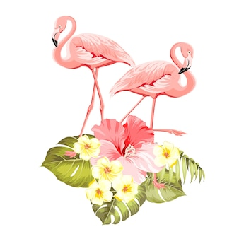 Floral exotic natural decoration. safary summer background with tropical leaves silhouette, blooming plumeria flowers, and flamingo birds.
