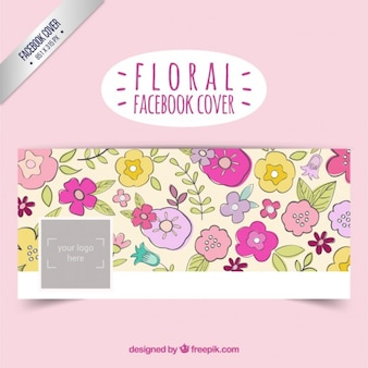 Copertura facebook floreale in stile disegnato a mano