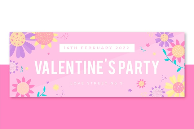 Floral facebook cover valentine's day template