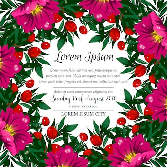 Floral festive frame with tropical flowers and berries