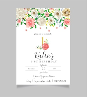 Floral first birthday invitation