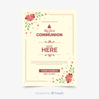 Floral first communion invitation template