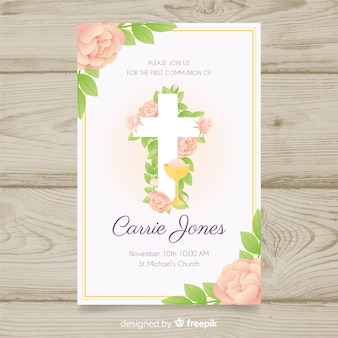 Floral first communion invitation