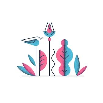 Цветочная квартира и концепция дизайна зерна, цифровая иллюстрация. птица и цветы, растения.