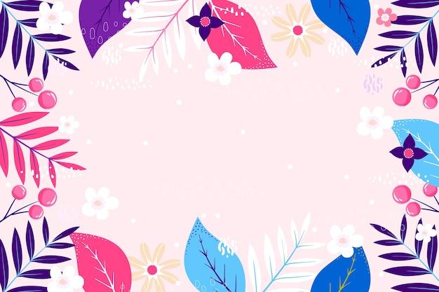 Floral flat design copy space frame background