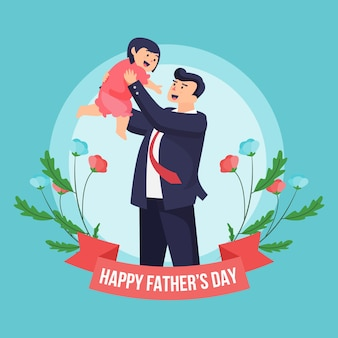 Floral flat design father's day and child