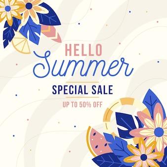 Floral flat design hello summer sale