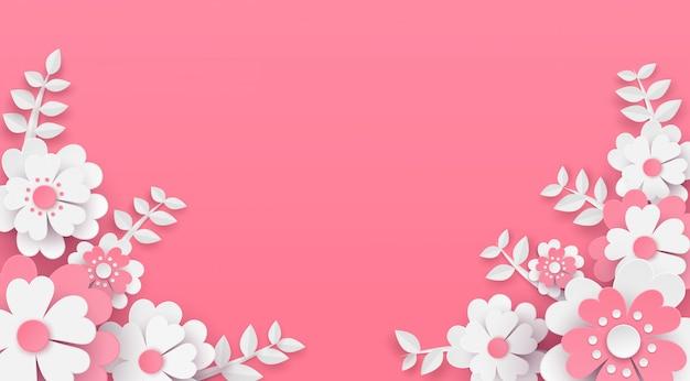 Floral and flower background vector paper art design .