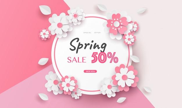 Floral and flower banner sale in vector paper art design .