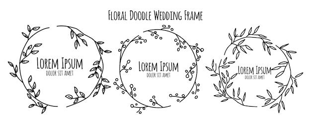Floral flower doodle sketch wedding frame ornament template collection