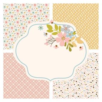 カードのための花の花の手描きのシームレスなパターン。