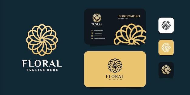 花の花のロゴと名刺のデザインのインスピレーション。