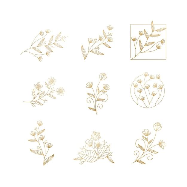 Floral flower luxury collection Premium Vector