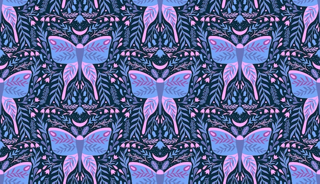Floral flower and moth insect seamless pattern
