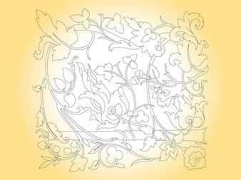 Floral flower outlines frame vector