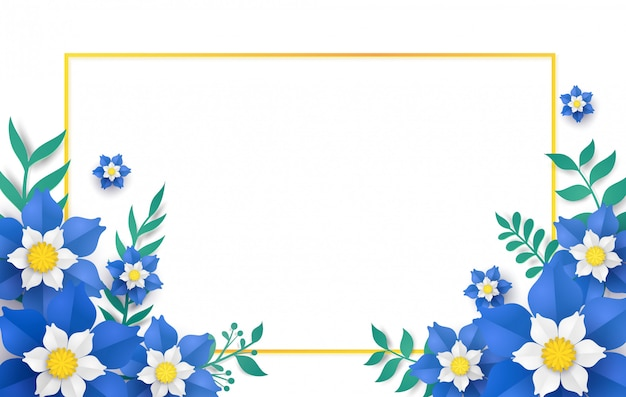 Floral and flower with frame in vector paper art design .