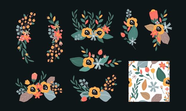 花の花の花輪のテンプレート。ロマンチックなフローラルリース
