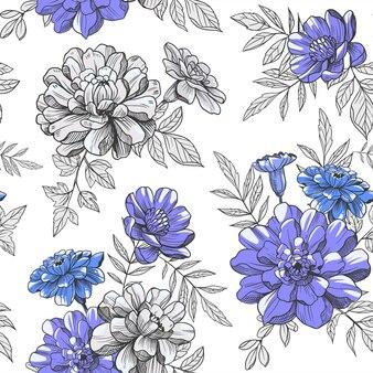 Цветочные, цветы, бесшовные модели. векторные иллюстрации. текстиль, ткань, цветочный дизайн поверхности