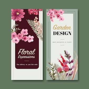 Floral flyer templates in watercolor style