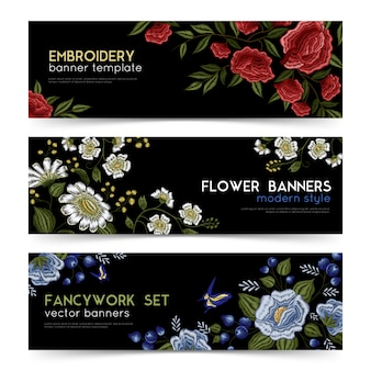 Floral folk embroidery banners set