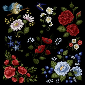 Floral folk fashion ornamental embroidery pattern
