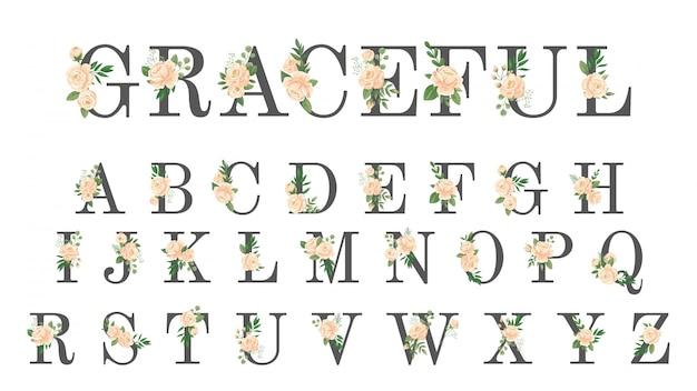 花のフォントです。豪華な結婚式の招待状の花の手紙、花のスタイリッシュなアルファベット、ローズモノグラムベクトルイラストセット
