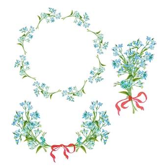 花のフレーム水彩画のミオソティステンプレートベクトルの花輪