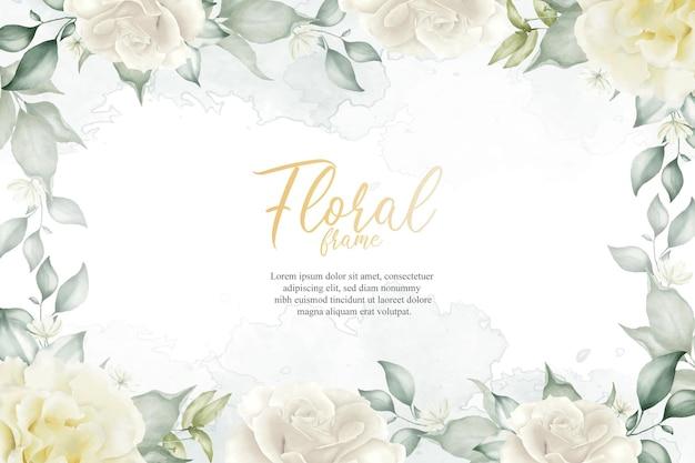 수채화 꽃과 잎 장식 꽃 프레임 배열 배경