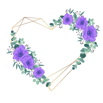 Floral frame background design with purple anemone flowers.