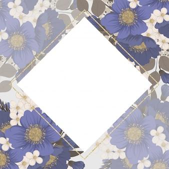 花のフレームの背景-水色の花