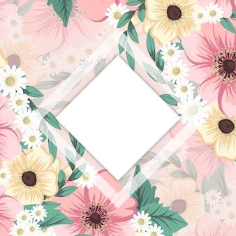 花のフレームの背景-ピンクの花のボーダー