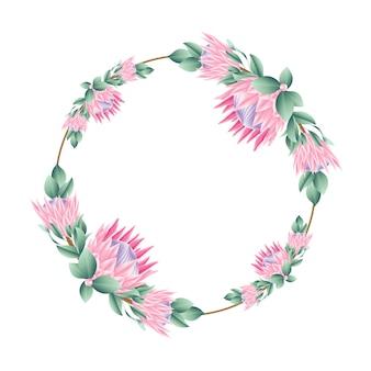 티아 꽃과 꽃 프레임 배경 템플릿 디자인.