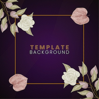 Floral frame background template with abstract lines