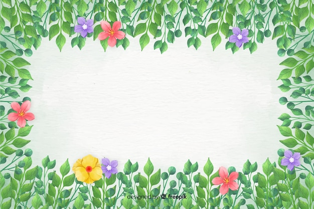 Floral frame background watercolor style