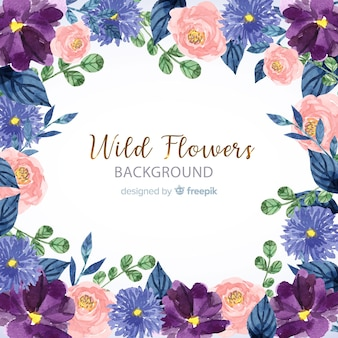 Floral frame background in watercolor