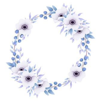アネモネの花と花のフレームの背景