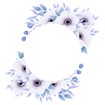 Цветочная рамка фон с цветами анемона.