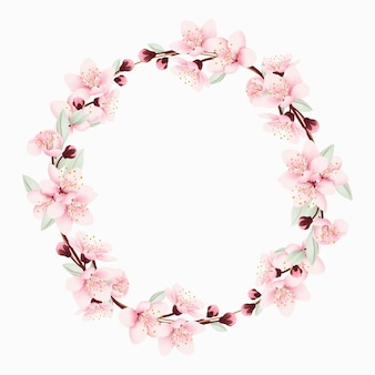 Floral frame background with cherry blossoms