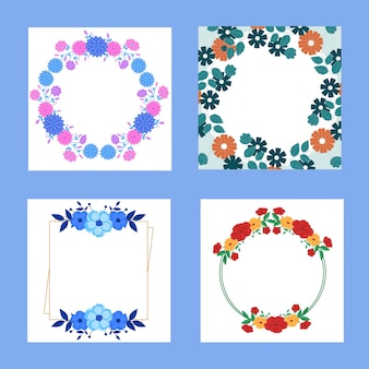 Floral frame background with copy space in four options.