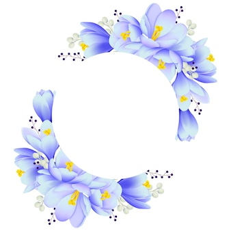 Floral frame background with crocus flowers