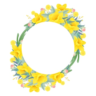 Floral frame background with daffodils flower