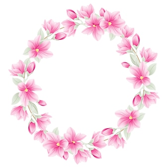 Floral frame background with magnolia flowers