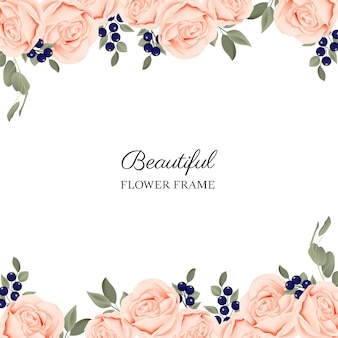 Floral frame background with peach blooming rose bouquet